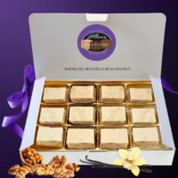 12 Piece Gift Box of Alice's Awesome Madagascar Vanilla Bean Walnut Fudge.